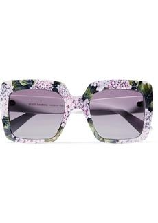 Dolce & Gabbana Square-frame printed acetate sunglasses