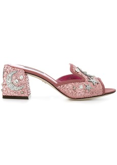 Dolce & Gabbana star and moon embellished mules - Pink & Purple