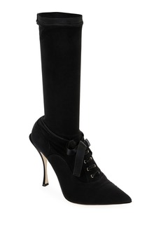 Dolce & Gabbana Stretch Lace-Up Mid-Calf Sock Boots