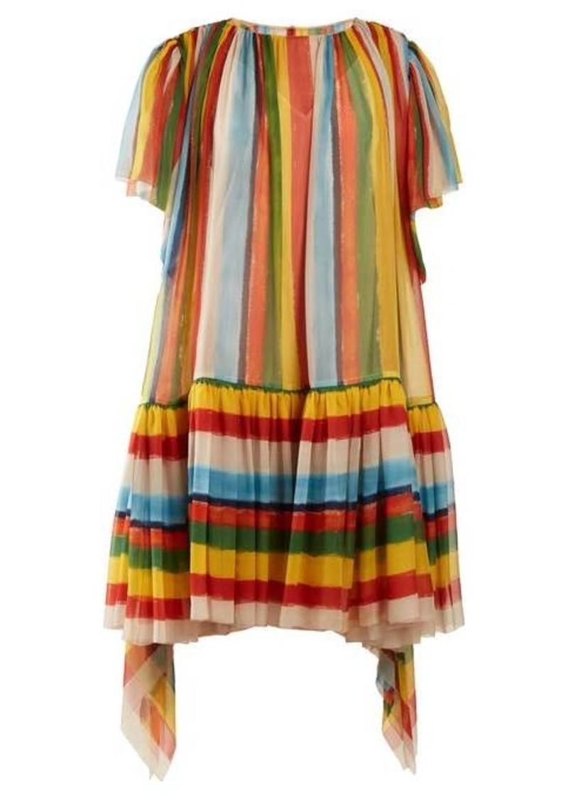 Dolce & Gabbana Striped boat-neck chiffon mini dress