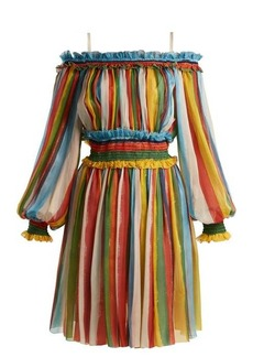 Dolce & Gabbana Striped silk-chiffon off-the-shoulder dress