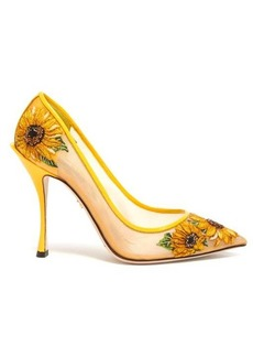 Dolce & Gabbana Sunflower-embroidered point-toe mesh pumps