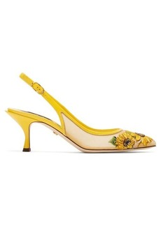 Dolce & Gabbana Sunflower mesh and leather slingback pumps