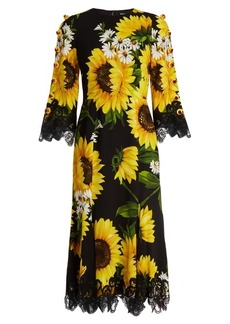 Dolce & Gabbana Sunflower-print cady midi dress