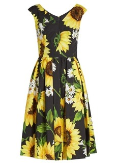 Dolce & Gabbana Sunflower-print cotton-poplin dress
