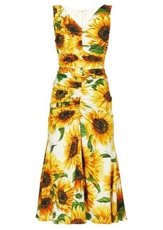 Dolce & Gabbana Sunflower-print gathered midi dress