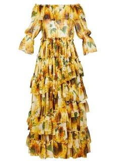 Dolce & Gabbana Sunflower-print ruffle-tiered silk-chiffon gown