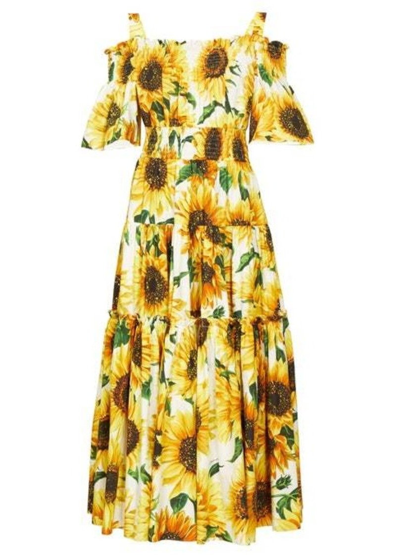 Dolce & Gabbana Sunflower-print tiered cotton-poplin midi dress