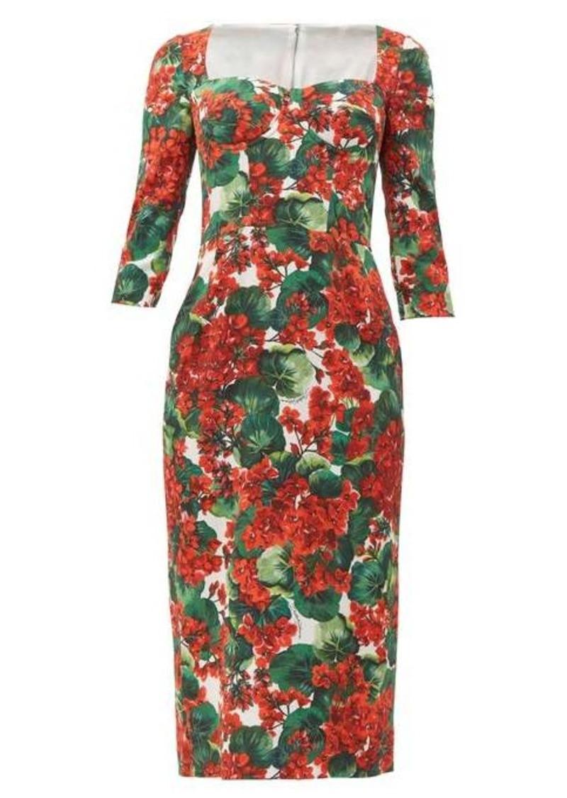 Dolce & Gabbana Sweetheart-bodice geranium-print cady midi dress