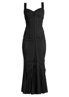 Dolce & Gabbana Sweetheart-neck lace-up silk-blend dress