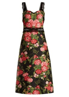 Dolce & Gabbana Sweetheart-neckline floral-jacquard dress