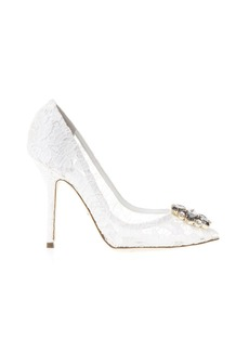 Dolce & Gabbana Taormina Lace Open Toe Court Shoes With Embroidery