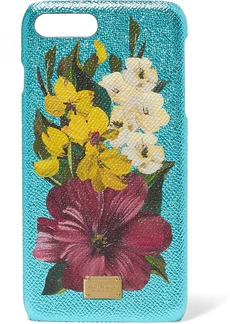 Dolce & Gabbana Textured-leather and metallic floral-print acrylic iPhone 7 Plus case
