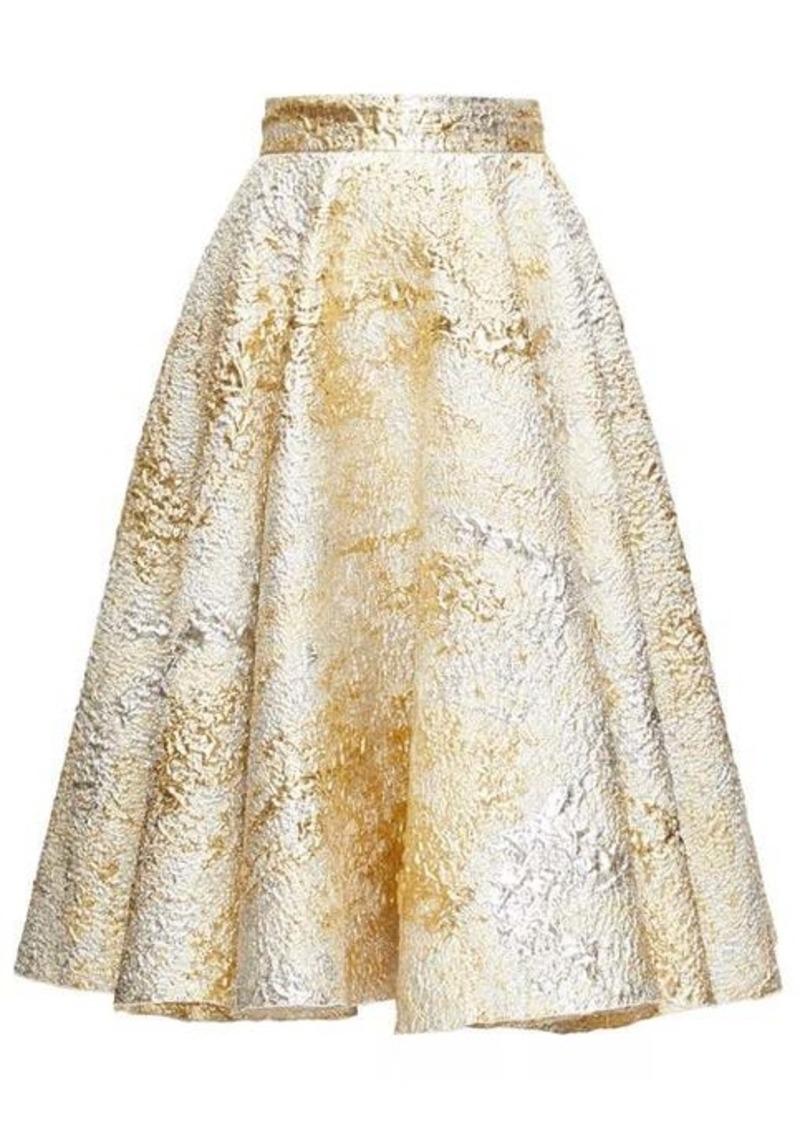 Dolce & Gabbana High-rise metallic-cloqué midi skirt