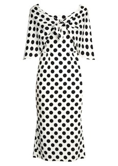 Dolce & Gabbana Tie-front polka-dot print charmeuse dress