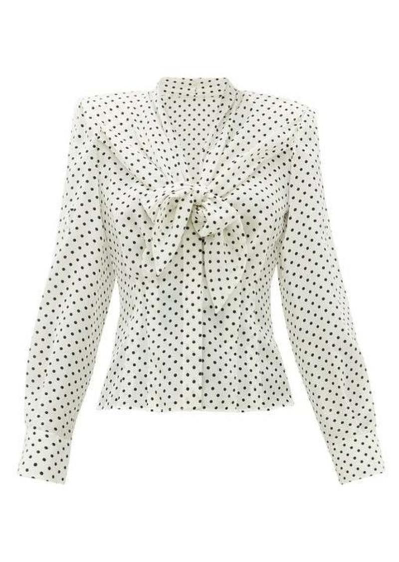 Dolce & Gabbana Tie-front polka dot-print silk top