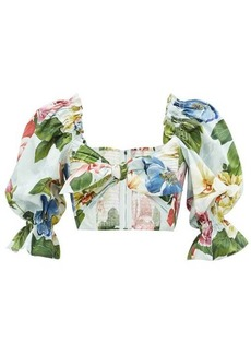 Dolce & Gabbana Tie-front rose and orchid-print cotton cropped top