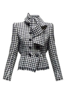 Dolce & Gabbana Tie-neck double-breasted houndstooth jacket