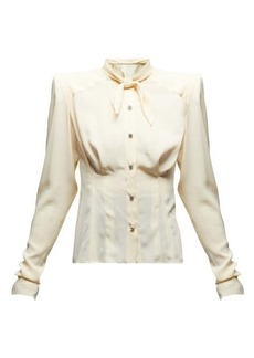 Dolce & Gabbana Tie-neck exaggerated-shoulder silk blouse