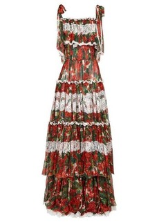 Dolce & Gabbana Tiered geranium-print silk-blend chiffon gown