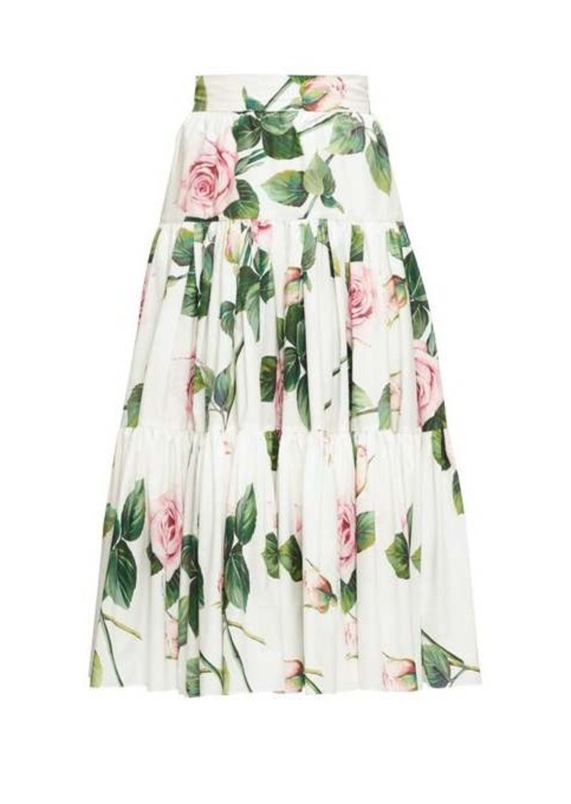 Dolce & Gabbana Tiered rose-print cotton-poplin skirt