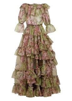 Dolce & Gabbana Tiered rose-print silk-blend organza gown