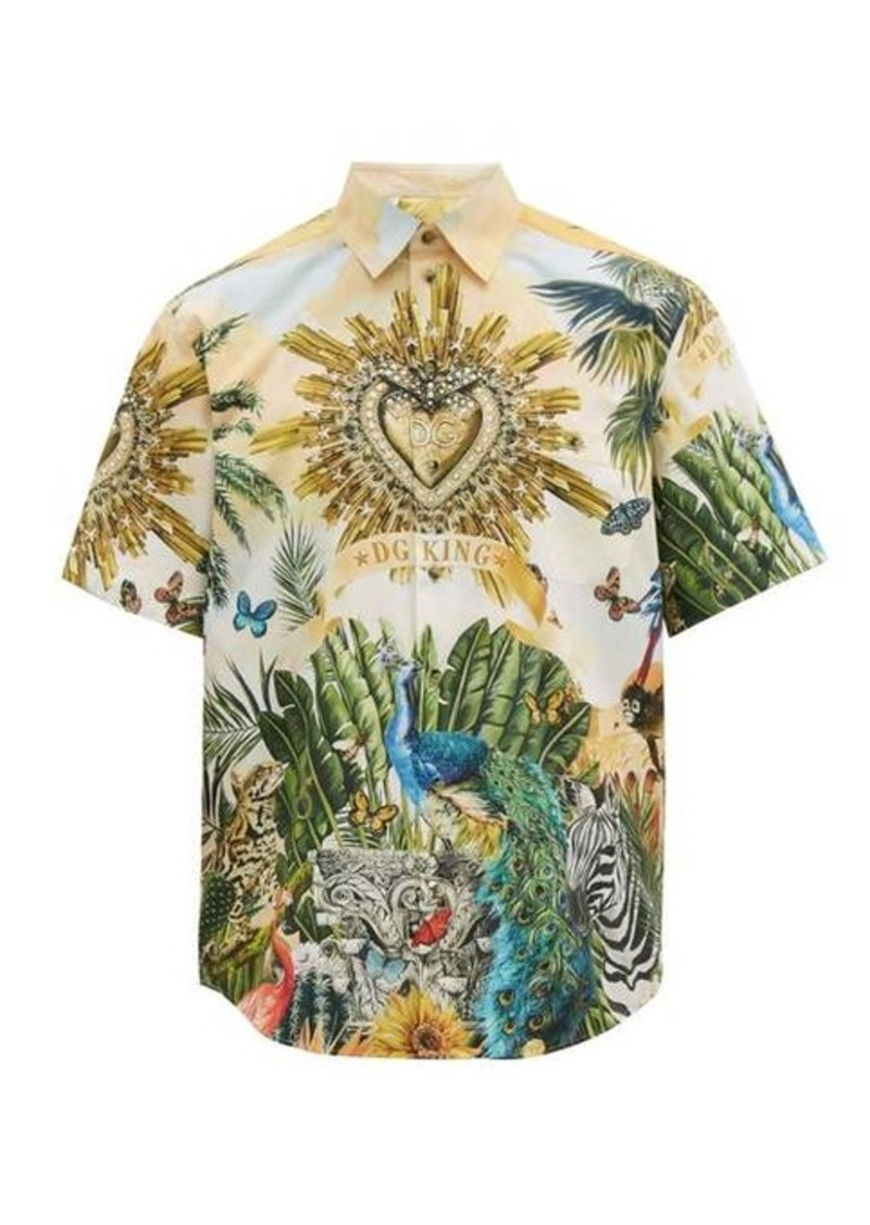Dolce & Gabbana Tropical-print cotton-poplin shirt