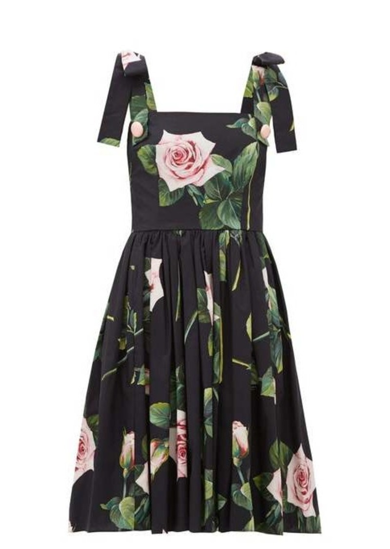 Dolce & Gabbana Tropical Rose-print cotton-poplin dress