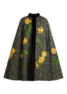 Dolce & Gabbana Tulip-appliqué mink-trimmed tweed cape