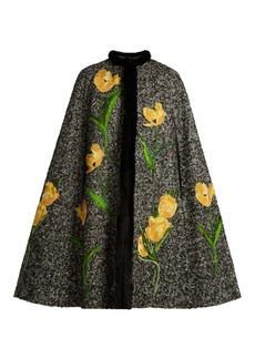 Dolce & Gabbana Tulip-appliqué mink-trimmed tweed cape