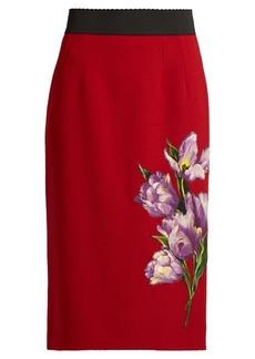 Dolce & Gabbana Tulip-appliqué stretch-wool pencil skirt