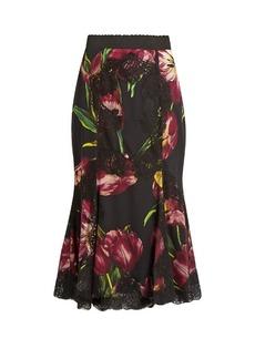 Dolce & Gabbana Tulip-print lace-panelled silk-blend skirt
