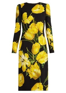 Dolce & Gabbana Tulip-print long-sleeved crepe dress