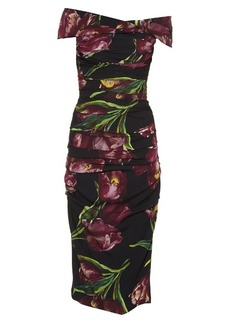 Dolce & Gabbana Tulip-print off-the-shoulder stretch-silk dress