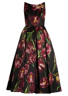 Dolce & Gabbana Tulip-print sleeveless duchess silk-satin gown
