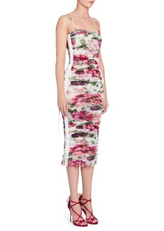 Dolce & Gabbana Tulle Stampa Peonie Ruched Lace-Up Dress