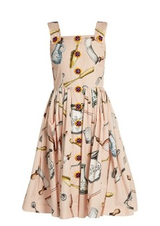 Dolce & Gabbana Utensil-print cotton-poplin midi dress