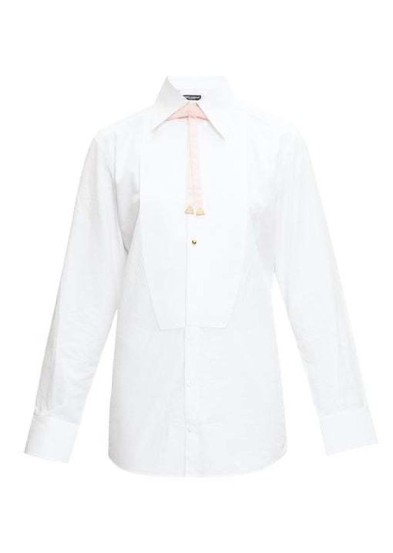 Dolce & Gabbana Velvet-bow bib-front cotton shirt