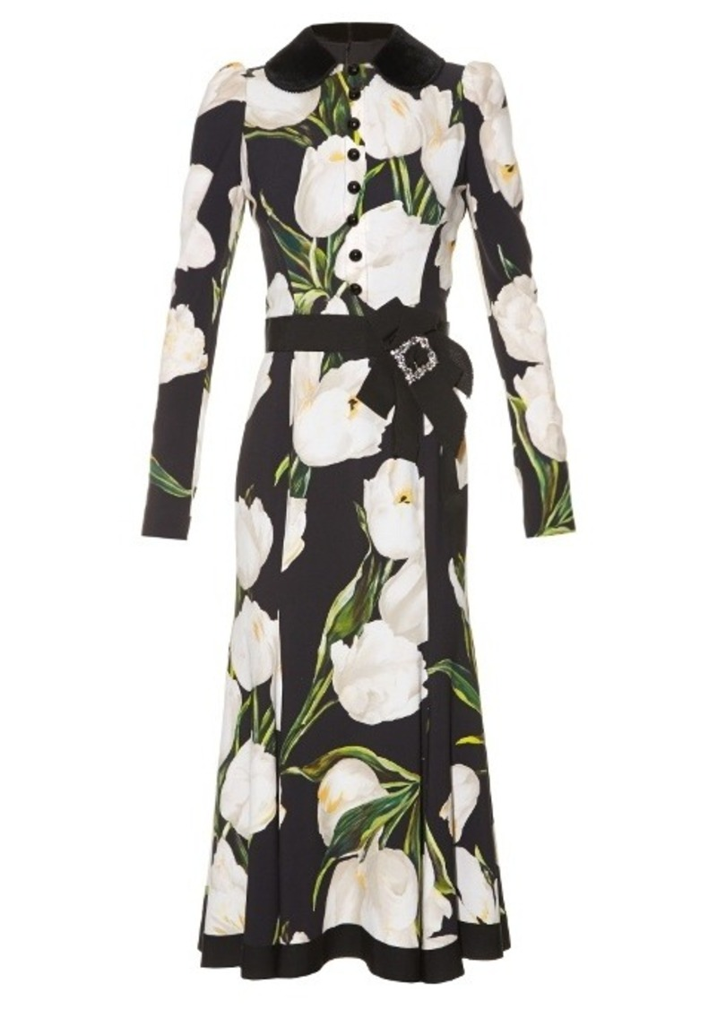 Dolce & Gabbana Velvet-collar tulip-print midi dress