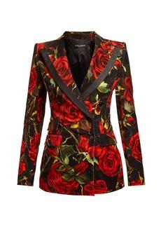 Dolce & Gabbana Velvet rose-print blazer