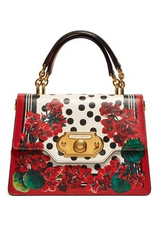 Dolce & Gabbana Welcome geranium-print leather bag
