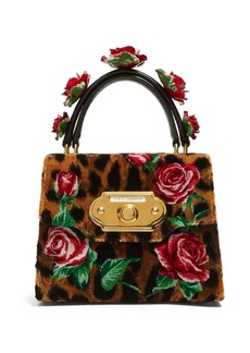 Dolce & Gabbana Welcome rose and leopard-print velvet bag
