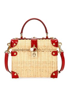Dolce & Gabbana Wicker and Leather Top-Handle Bag