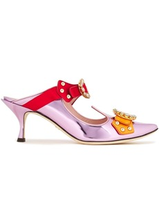 Dolce & Gabbana Woman Aladino Buckled Embellished Mirrored-leather Mules Lilac