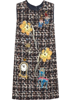 Dolce & Gabbana Woman Appliquéd Bouclé-tweed Mini Dress Multicolor
