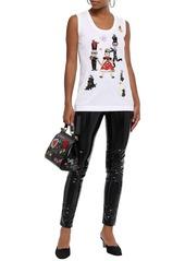 Dolce & Gabbana Woman Appliquéd Cotton And Silk-blend Jersey Tank White