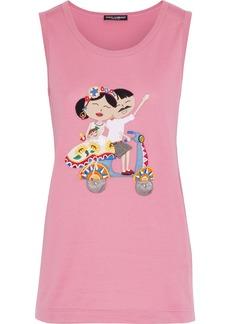 Dolce & Gabbana Woman Appliquéd Cotton-jersey Tank Pink