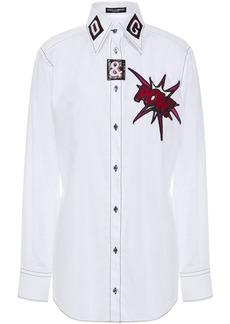 Dolce & Gabbana Woman Appliquéd Cotton-poplin Shirt White