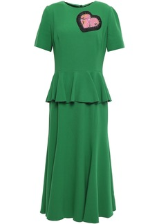 Dolce & Gabbana Woman Appliquéd Crepe Peplum Midi Dress Green