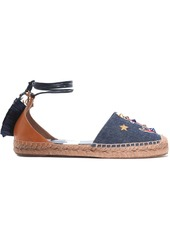 Dolce & Gabbana Woman Appliquéd Denim And Raffia-trimmed Leather Espadrilles Dark Denim